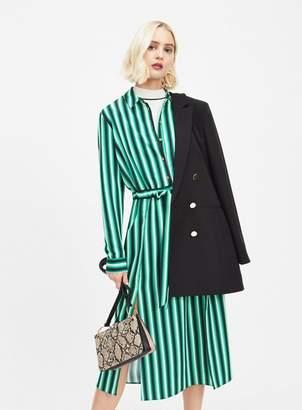 Miss Selfridge Green stripe midi dress