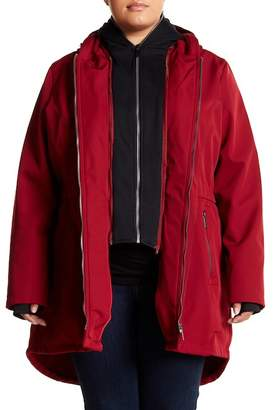 French Connection Fleece Bib Hooded Parka (Plus Size)