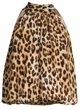 Alice + Olivia Maris Leopard Halter Tie-Neck Silk Blouse