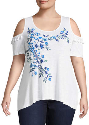 Unity World Wear Short Sleeve Cold Shoulder Embroidered Blouse - Plus