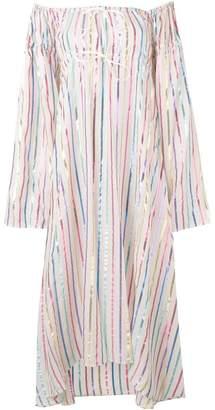 ATTICO striped off-the-shoulder dress