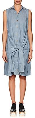 Yohji Yamamoto Regulation Women's Linen-Cotton Chambray Shirtdress - Blue
