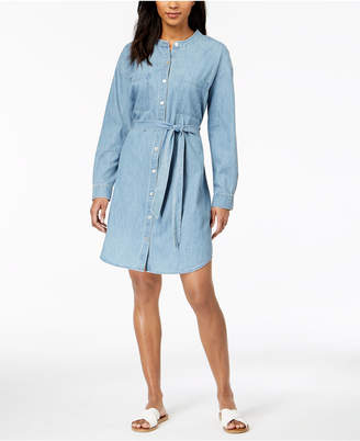 Eileen Fisher Organic Cotton Mandarin-Collar Shirtdress