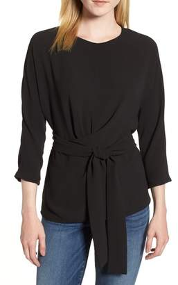 Gibson Dolman Sleeve Tie Back Stretch Crepe Blouse