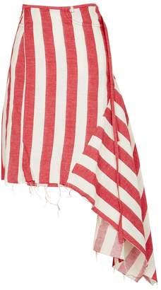 Marques Almeida Marques'almeida Marques'Almeida Striped Linen-blend Wrap Skirt