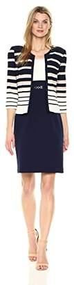 Sandra Darren Women's 2 Pc 3/4 Sleeve Striped Knit Sheath Jacket Dress with Belt