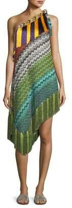 Missoni Mare Fringe-Trim Short Asymmetric Beach Dress