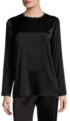 Escada Nivo Satin Beaded Blouse
