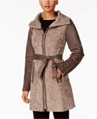 Vince Camuto Faux-Shearling Walker Coat