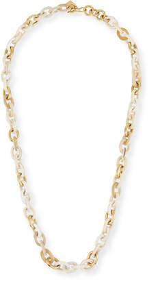 "Ashley Pittman Meli Light Horn & Bronze Link Necklace, 32""L"