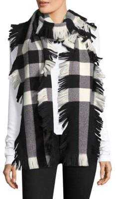 Burberry Wool Fringe Plaid Scarf