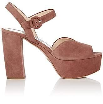 Prada Women's Suede Platform Ankle-Strap Sandals - Mauve