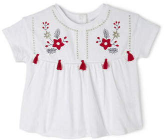 Sprout NEW Girls Embroidery Top White