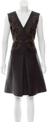 Alberta Ferretti Lace-Accented Satin Dress
