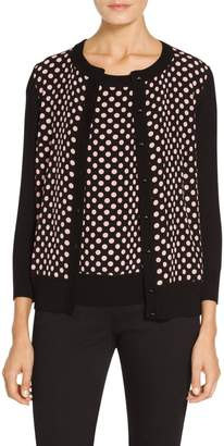 St. John Dot Print Viscose and Cashmere Cardigan