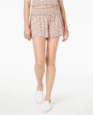 Love, Fire Juniors' Printed Smocked Shorts