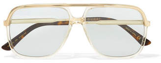 Gucci Squared Aviator-style Gold-tone And Acetate Sunglasses - Blue