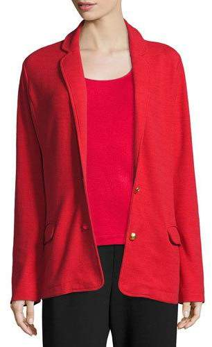 Joan Vass Two-Button Long Pique Blazer, Classic Red