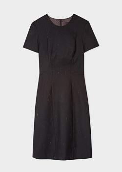 Paul Smith Women's Black Wool-Blend Slub-Detail Shift Dress