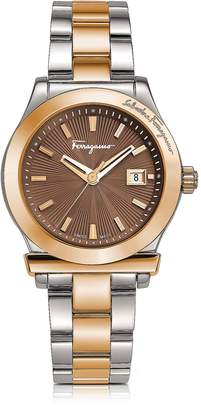 Salvatore Ferragamo 1898 Stainless Steel and Rose Gold IP Women's Bracelet Watch w/Brown Dial