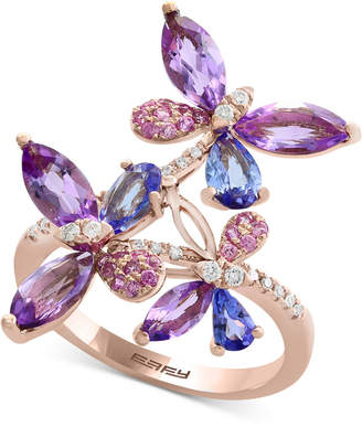 Effy Multi-Gemstone (2-3/8 ct. t.w.) & Diamond (1/8 ct. t.w.) Butterfly Ring in 14k Rose Gold