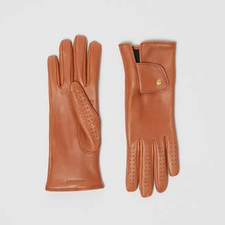 Burberry Cashmere-lined Lambskin Gloves , Size: 7, Brown