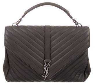 Saint Laurent Large Collà ̈ge Monogram Satchel Grey Large Collà ̈ge Monogram Satchel