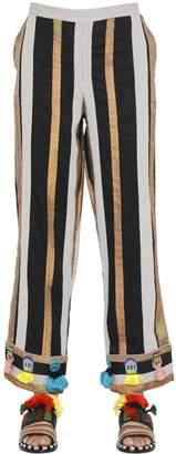 Sanchita Embellished Striped Cotton Organdy Pants