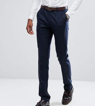 Gianni Feraud TALL Slim Fit Navy Herringbone Suit Pants