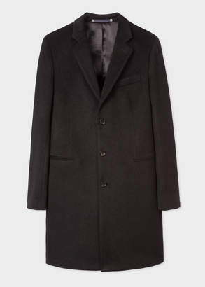 Paul Smith Men's Black Alpaca-Wool Blend Overcoat