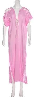 Marysia Swim Lace-Up V-Neck Maxi Dress
