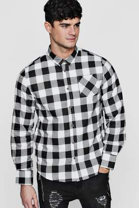 boohoo Brushed Check Buffalo Long Sleeve Shirt