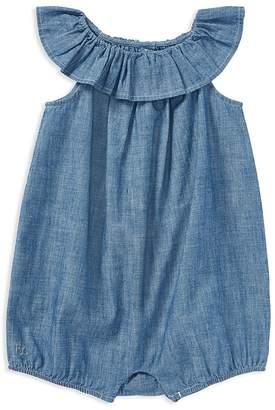 Ralph Lauren Girls' Ruffled Chambray Bubble - Baby