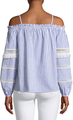 Brandon Thomas Off-The-Shoulder Striped Blouse