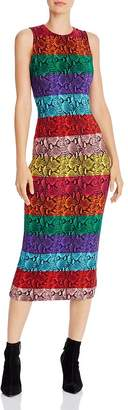 Alice + Olivia Delora Rainbow Snake Print Midi Dress