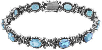 FINE JEWELRY Genuine Sky Blue Topaz Oxidized Sterling Silver Tennis Bracelet