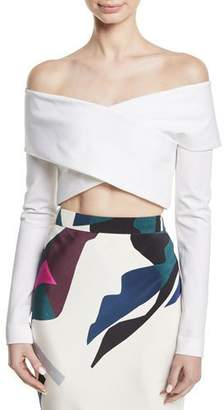 Cushnie et Ochs Off-the-Shoulder Crisscross Cropped Top