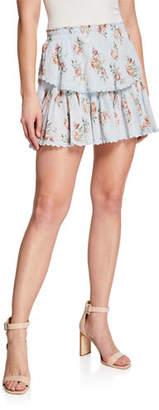 LoveShackFancy Floral Ruffle Tiered Mini Skirt