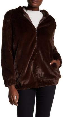 Tea & Cup Hooded Soft Faux Fur Zip Down Jacket