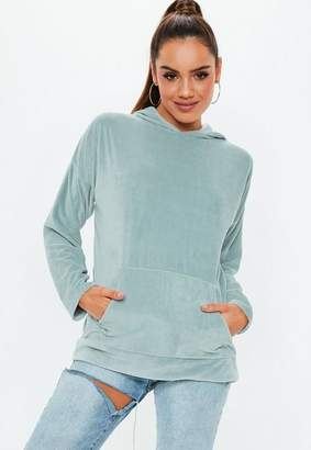 Missguided Teal Velour Oversized Hoodie