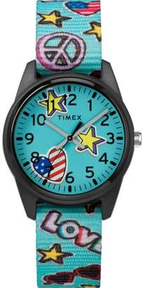 Timex Girls Time Machines Teal/Stars & Flags Watch, Nylon Strap