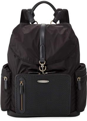 Ermenegildo Zegna Pelle Tessuta Leather & Nylon Backpack