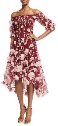 Marchesa Off-the-Shoulder 3D-Floral High-Low Cocktail Dress