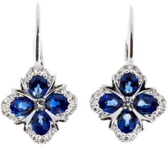 18K White Gold Blue Sapphire & Diamond Earrings