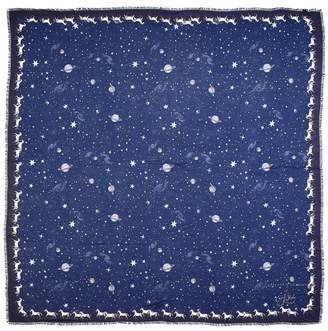 Aspinal of London Pegasus Constellation Cashmere Blend Scarf In Midnight Blue 55 X 55