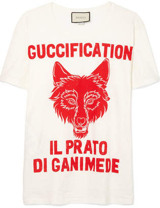 Gucci Printed Cotton-jersey T-shirt - White