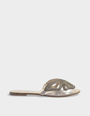 Sophia Webster Madame Butterfly Crystal Slide Shoes in Nude Suede Leather