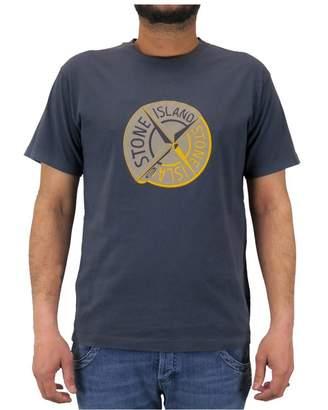 Stone Island Men ́s Short Sleeve T-Shirt Logo on The and Yellow front Logo on The and Yellow Front - L, Grey