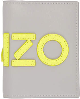 Kenzo Grey and Yellow Logo Card Holder