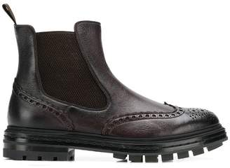 Santoni punch hole ankle boots